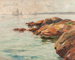 Alice Preble Tucker De Haas (American, 1859-1920)      Rocky Coast with Sailboats on the Horizon