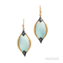 18kt Gold, Quartz, and Diamond Earrings, Lauren Harper