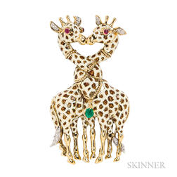 18kt Gold and Enamel Giraffe Pendant/Brooch, David Webb