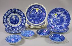 Fourteen English Blue and White Transfer Staffordshire Plates and Saucers