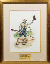 Framed Original Don Troiani Watercolor Figure Study of a Spanish Soldier from the Louisiana Regiment