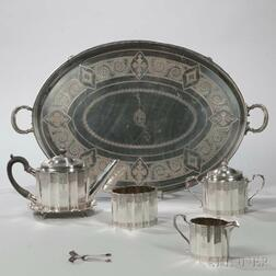 Four-piece Theodore Starr Sterling Silver Tea Service with Associated Tray and Sugar Tongs