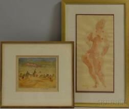Two Framed Works on Paper by Mid-Century American Artists:      William Meyerowitz (1887-1981), The Cove