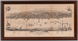 """Bird's Eye View of the Town of Provincetown"" Lithograph"