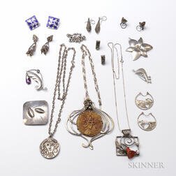 Group of Modernist Silver Jewelry
