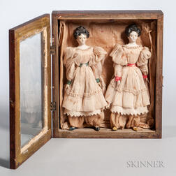Shadow Box Containing Milliner Model Dolls