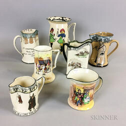 Seven Royal Doulton Transfer-decorated Ceramic Pitchers