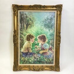 Framed Continental School Oil on Canvas Depiction of Two Children