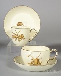 Two Wedgwood Queen's Ware Cups and Saucers