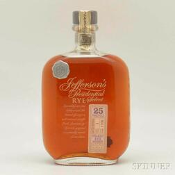 Jeffersons Presidential Select Rye 25 Years Old, 1 750ml bottle