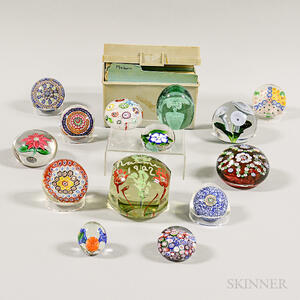 Fourteen Glass Paperweights