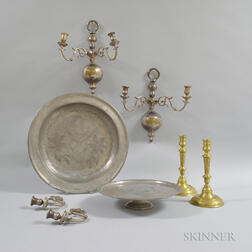 Pewter Charger, Pewter Tazza, a Pair of Brass Engraved Candlesticks, and a Pair of Silver-plated Wall Sconces