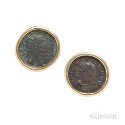 18kt Gold and Ancient Coin Earclips, Bulgari