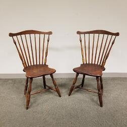 Near Pair of Fan-back Windsor Side Chairs