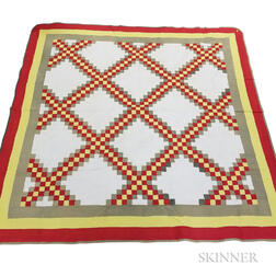 "Pieced Cotton ""Triple Irish Chain"" Quilt"
