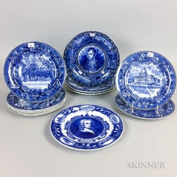 Twelve Blue and White Transfer-decorated Ceramic Plates