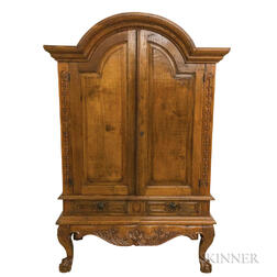 Dutch Colonial Carved Walnut Armoire