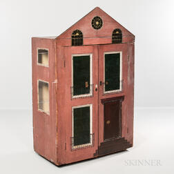 Painted Dollhouse-form Child's Cupboard