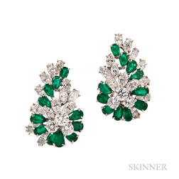 Platinum, Emerald, and Diamond Earclips, Oscar Heyman