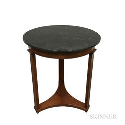 Biedermeier-style Marble-top Walnut Veneer Side Table