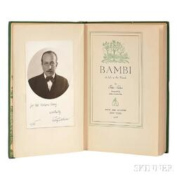 Salten, Felix (1869-1945) Bambi, a Life in the Woods, with Signed Photograph of the Author.