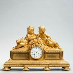 Bourdin Gilt-brass Figural Mantel Clock
