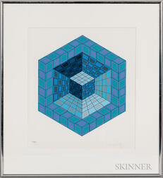 Victor Vasarely (Hungarian/French, 1908-1997)      Hexagon with Cube