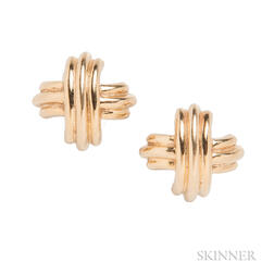 "18kt Gold ""Signature"" Earrings, Tiffany & Co."