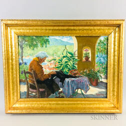 Framed Oil on Canvas Figural Scene of a Woman Mending