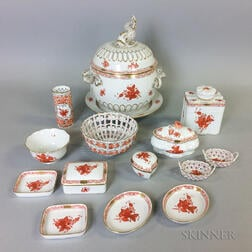 "Sixteen Pieces of Herend ""Chinese Bouquet Rust"" Porcelain Tableware.     Estimate $600-800"