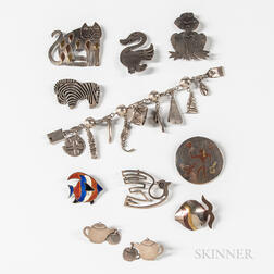 Group of Figural Mexican Sterling Silver Jewelry