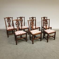 Set of Six Chippendale-style Carved Mahogany Side Chairs