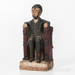 Carved and Painted Pine Seated Figure of Abraham Lincoln