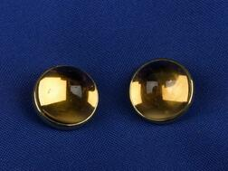 Pair of 18kt Gold and Citrine Buttons