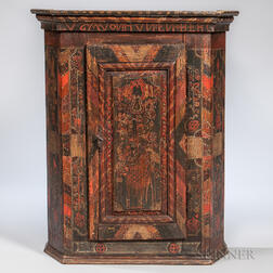 Polychrome Painted Hanging Wall Cupboard