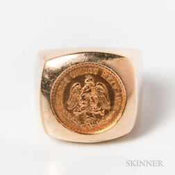 14kt Gold-mounted 2 1/2 Pesos Coin Ring