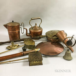 Ten Mostly Copper Hearth and Utilitarian Items