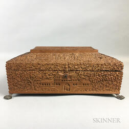 Carved Wood Sewing Box