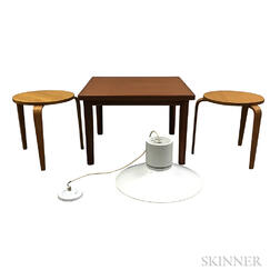 Two Alvar Aalto-style Side Tables, a Danish Teak Side Table, and a Danish Modern Light Fixture.