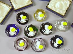 Nine Baccarat Sulfide and Faceted Art Glass Paperweights