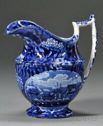 Historical Blue Transfer-decorated Staffordshire Pottery Pitcher