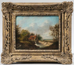 German School, 19th Century      Landscape View with Mill on the Banks of a Stream