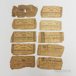 Nine 1862 City of Richmond, Virginia, Fractional Currency Notes