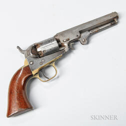 Colt Model 1849 Pocket Revolver and Small Flask
