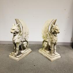 Pair of Molded Composite Garden Griffins