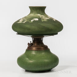 Handel Shade on Hampshire Pottery Lamp Base