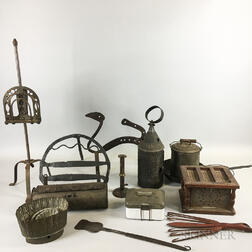 Group of Wrought and Sheet Iron and Tin Hearth Items.     Estimate $250-350