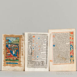 Printed Books of Hours, Twenty Parchment Leaves.