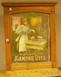 Diamond Dyes Chromolithographed Tin and Oak Retail Advertising Display Cabinet.