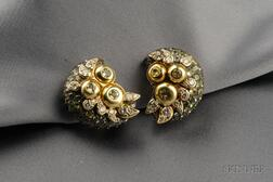 Tourmaline and Diamond Earclips, Marilyn Cooperman